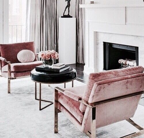 Pink accent chairs perfect for this all white living room | Décor .