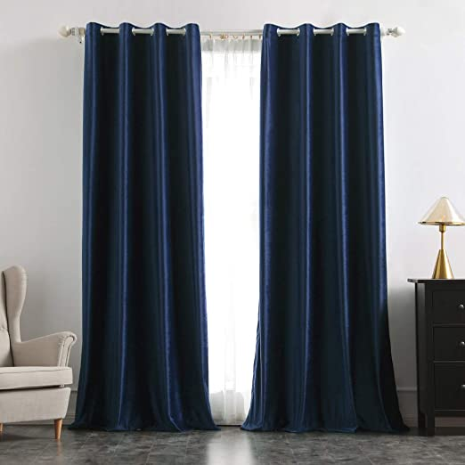Soft Fabric Blue Curtains For Living Room