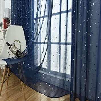 Amazon.com: Kids Room Window Sheer Navy Blue Curtain 1 Panel Rod .