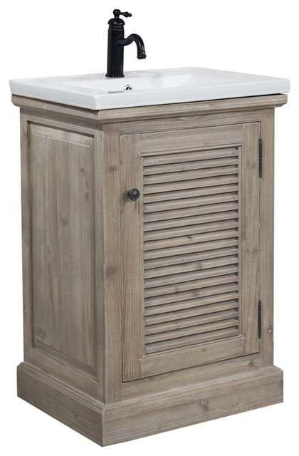 Rustic Style 24, Inch Bathroom Vanity With Ceramic Single Sink, No .