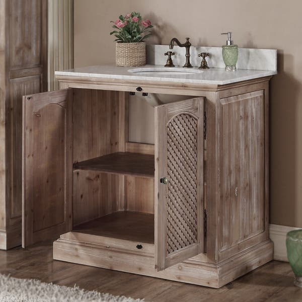 Shop Rustic Style 36-inch Natural Stone Top Single Sink Bathroom .