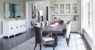 Gray Rectangular Dining Table with Oval Bling Chandelier .
