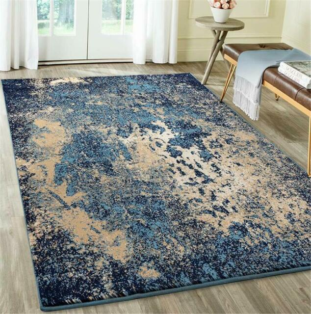 BLUE BRAIDED RUG LARGE 10X13 10' X 13' Oval LIVING ROOM DINING .