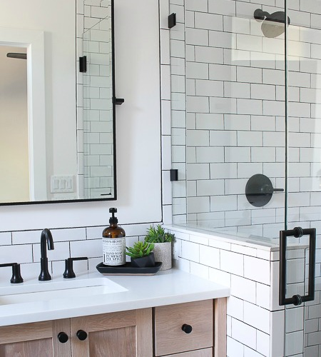 A Classic White Subway Tile Bathroom Designed By Our Teenage Son .