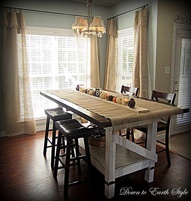 Modern Light Fixture Goes Shabby | Tall kitchen table, Trendy .