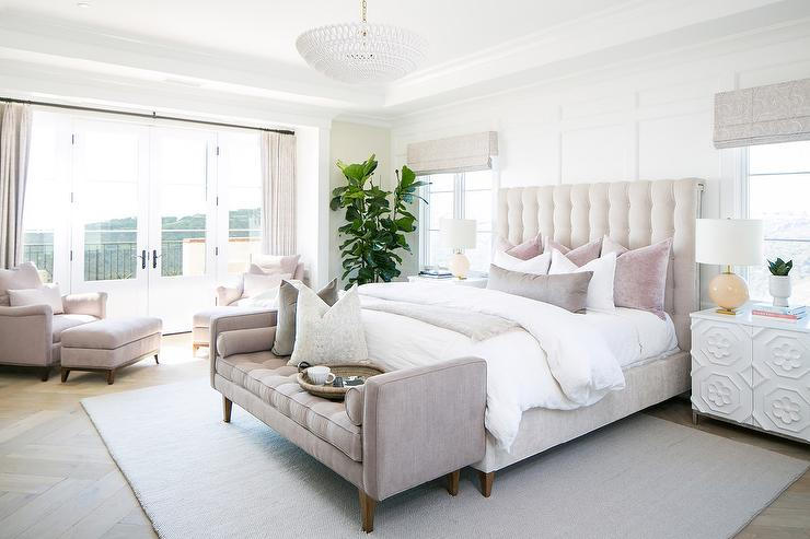 Pale Pink Velvet Tufted Bed with Pink Bench - Transitional - Bedro