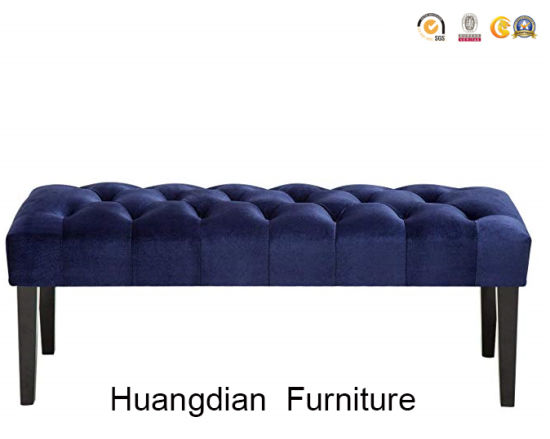 China Hotel Bedroom Modern Navy Fabric Tufted Bed Bench - China .