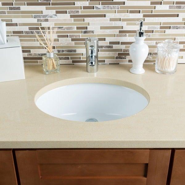 Shop Hahn Ceramic White Medium Oval Bowl Undermount Bathroom Sink .