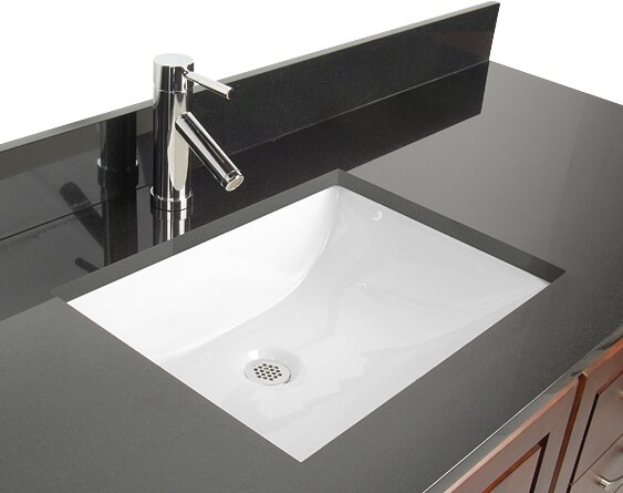 Ceramic Rectangular Undermount Bathroom Sink with Overflow .
