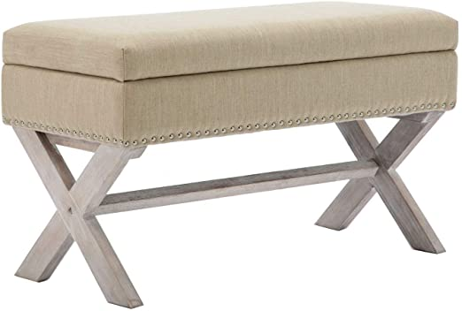 Amazon.com: chairus Fabric Upholstered Storage Entryway Bench, 36 .
