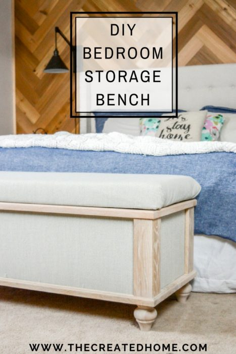 DIY Upholstered Storage Bench - The Created Ho