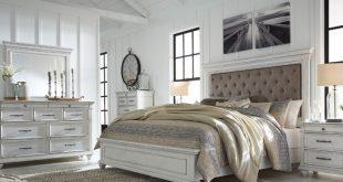 Kanwyn Whitewash Upholstered Queen Panel Storage Bedroom Set .
