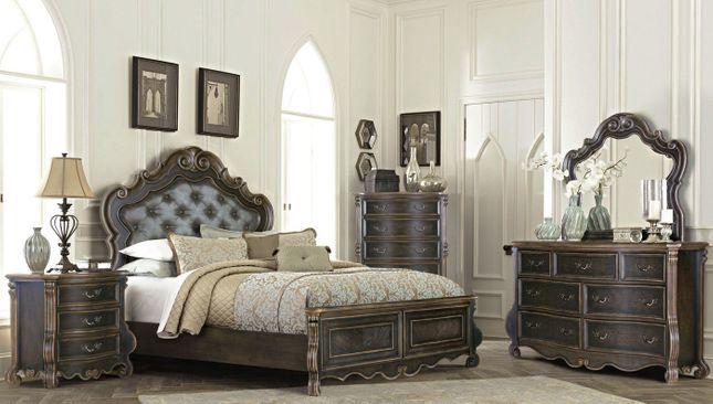 Old World Queen Bedroom Set Dark Brown Ebony & Gold Upholstered .