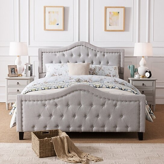 Buy Livi Fabric Fully Upholstered Queen Bed Set by GDFStudio on .