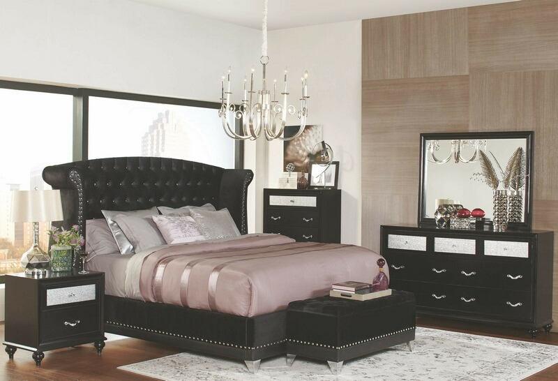 300643Q 5 pc Brazille collection black finish wood metallic velvet .