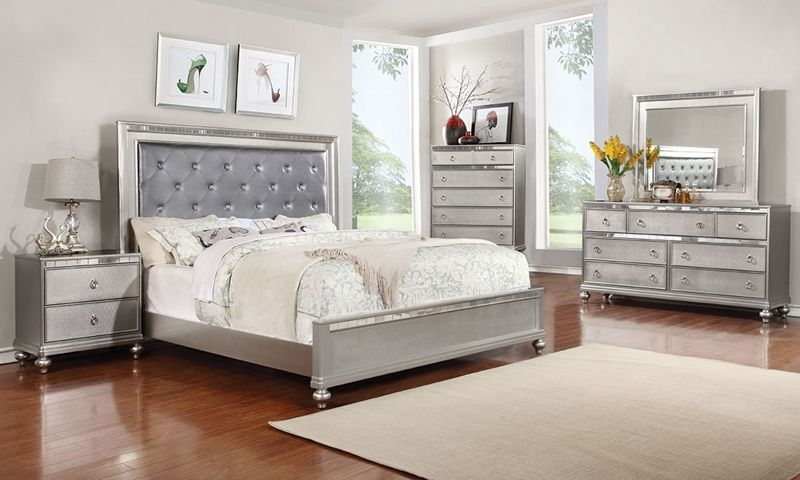 Marilyn Glam Upholstered Queen Bedroom   Contemporary bedroom sets .