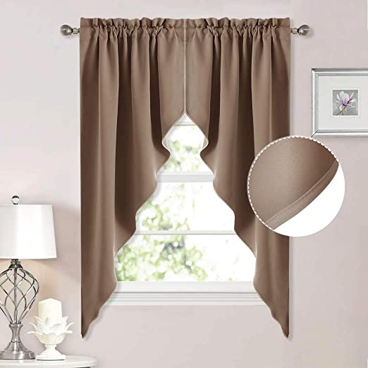Amazon.com: NICETOWN Blackout Pole Pocket Kitchen Tier Curtains .