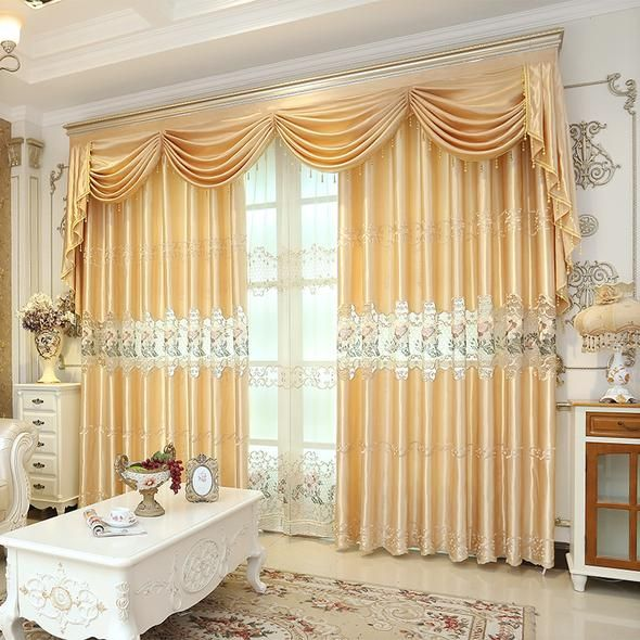 Golden Embroidered European Royal Luxury Valance Curtains for .