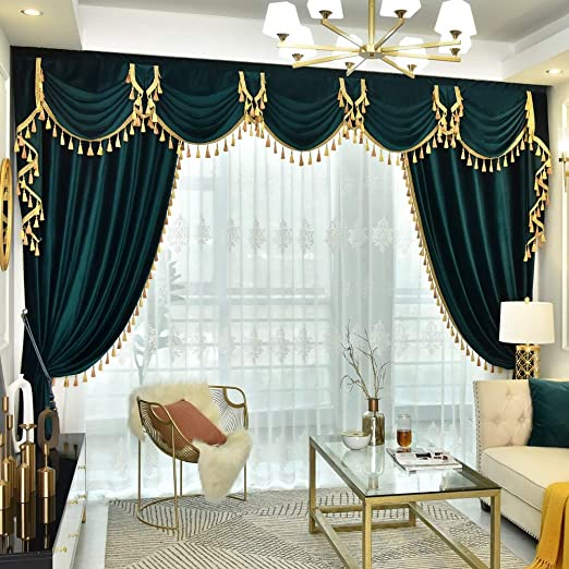 Amazon.com: Queen's House Tassel Valance Curtains Velvet Waterfall .
