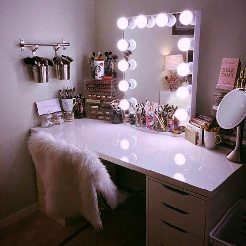 Makeup Organizer Table plus Light Pink Makeup Vanity Mirror .
