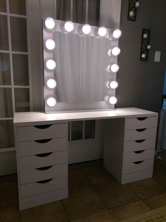 Vanity mirror with lights Dimmer and 2plug outlet | Bedroom vanity .
