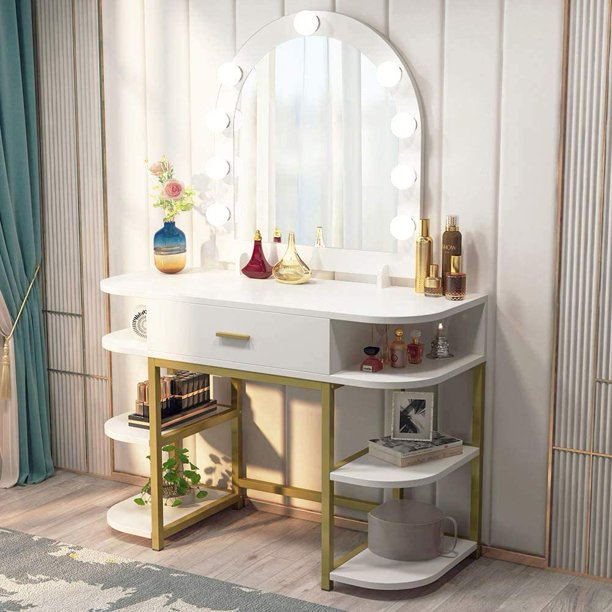 Tribesigns Large Vanity Table with Lighted Mirror and Drawer .