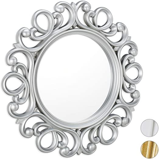Amazon.com: Relaxdays Round Wall Mirror, Decoration for Hallway .