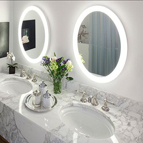 Amazon.com - Round LED Lighted Wall Mount Vanity Bathroom Mirror .