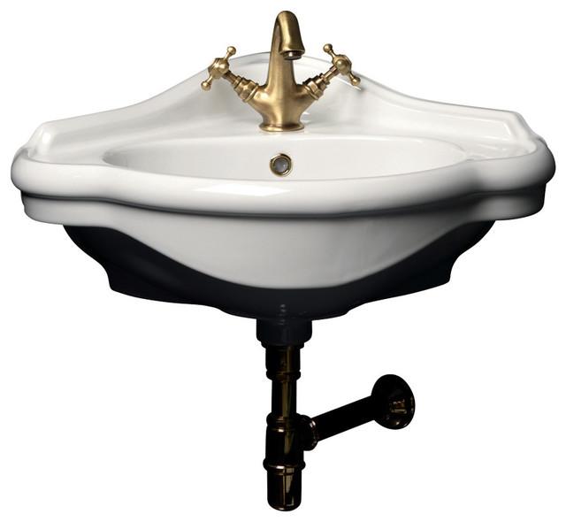 WS Bath Collections Contea Wall Mounted Bathroom Corner Sink, 23.2 .