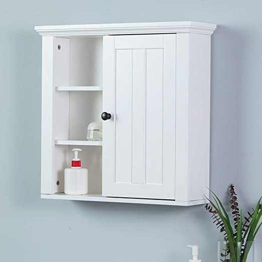 Amazon.com: Winsome House White Wood Bathroom Wall Cabinet: Home .