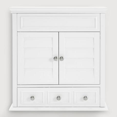 White Wood Maryella Bathroom Medicine Cabinet | World Mark