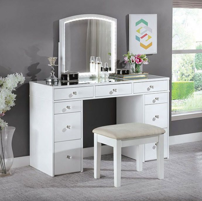 Louise Transitional White 2 Piece Complete Vanity Set | Bedroom .