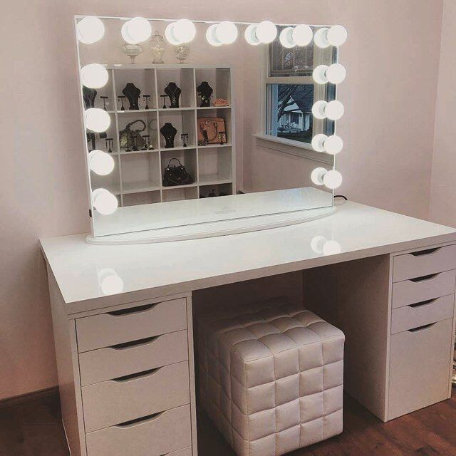 White Makeup Desk With Lights | Saubhaya Make