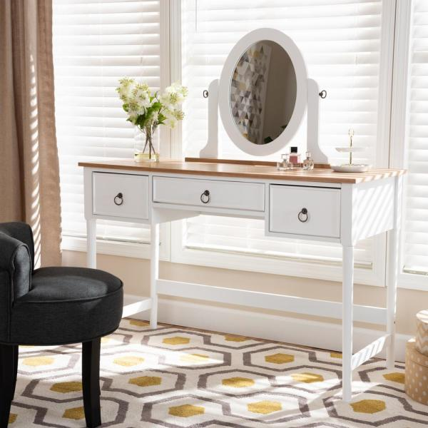 Baxton Studio Sylvie White and Natural Bedroom Vanity Table-154 .