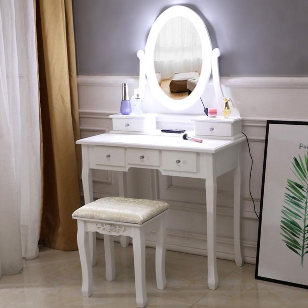 Ktaxon Vanity Table 10 LED Lights, 5 Drawers Makeup Dressing Desk .