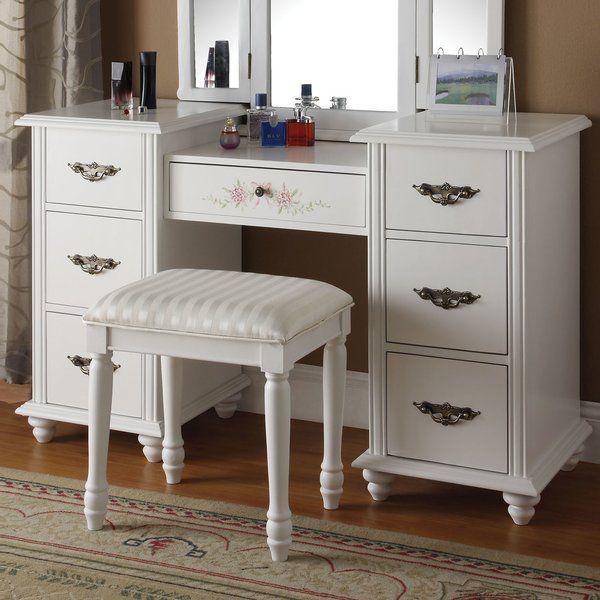 Torian Vanity Set | Bedroom vanity set, White vanity table, White .
