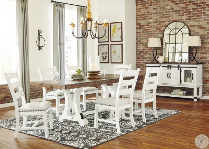 Valebeck White and Brown Rectangular Dining Room Set from Ashley .