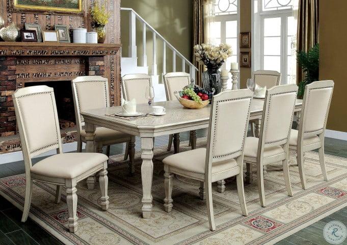 Holcroft Antique White Extendable Rectangular Leg Dining Room Set .