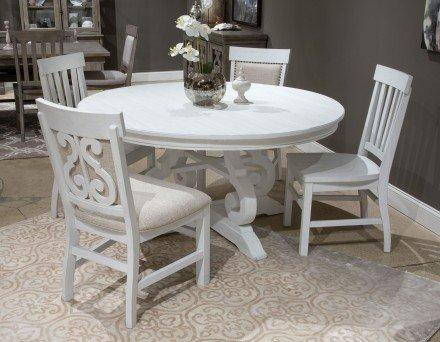 "Bronwyn Chalk White 60"" Round Dining Room Set - 1StopBedroom"