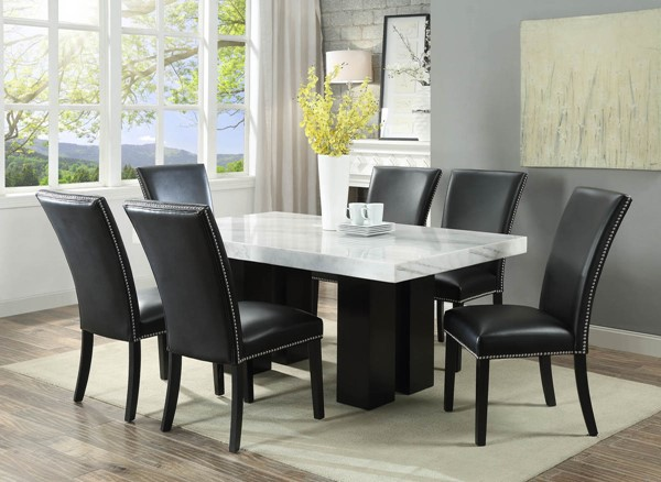 Steve Silver Camila White Black 7pc Dining Room Set | The Classy Ho