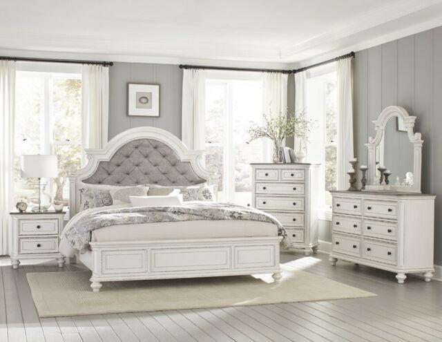 Laveno 012 White Wood Bedroom Furniture Set, Includes King Bed .