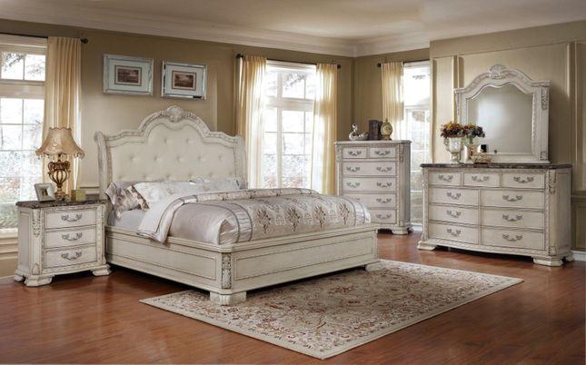 Magnolia Traditional 4pc Queen Bedroom Set Antique White Fini