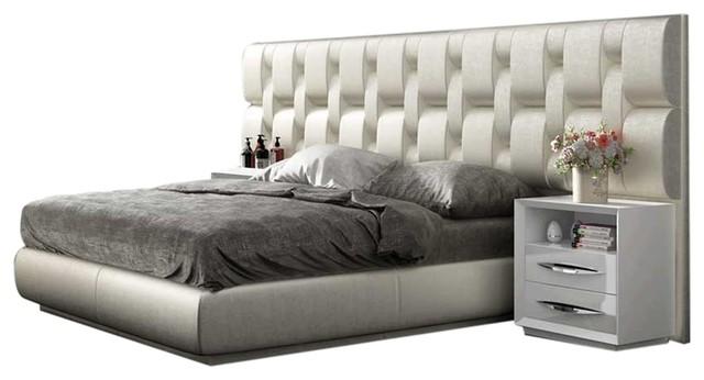 Emporio 3-Piece Modern Bedroom Set, White High Gloss, King .