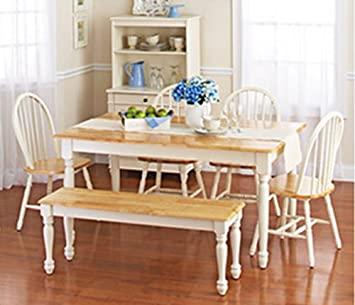 Amazon.com - White Dining Room Set with Bench. This Country Style .