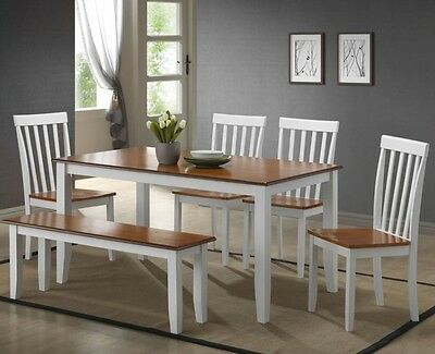 6 Pc White Dining Room Set Kitchen Table Chairs Bench Wood .