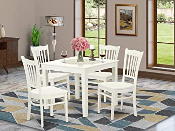 Amazon.com - 5 PC Kitchen Table and 4 Wood Dining Chairs in Linen .