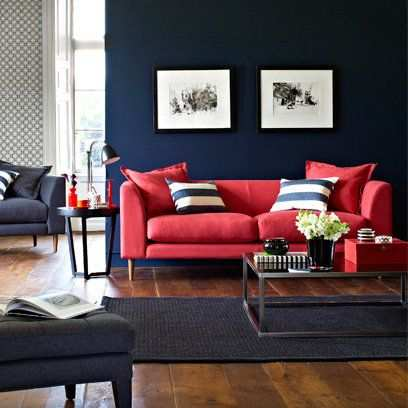 Only Furniture: Red Color Schemes For Living Rooms With Black Or .