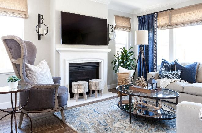 Blue, white, greys and beige living room color scheme. | Beige .