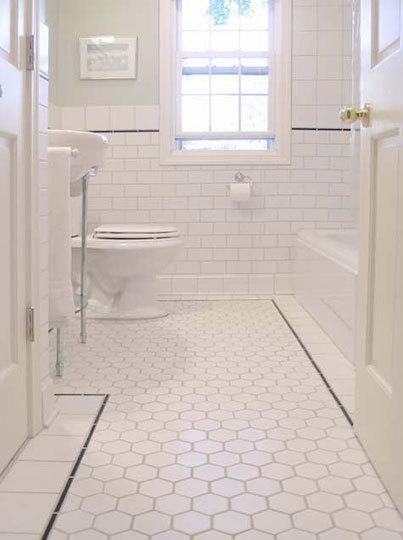 White Hex Tiles - Traditional - bathroom | White subway tile .