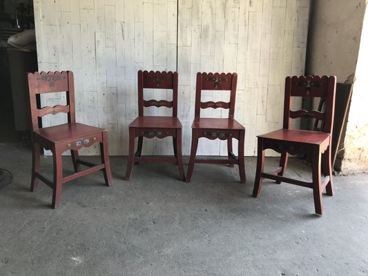 Antique Painted Wooden Dining Chairs, Set of 4 for sale at Pamo